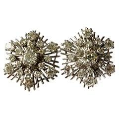 1970 Vintage Star Shaped Diamond Earrings