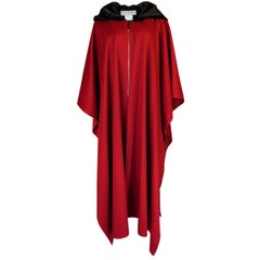 1970s-1980s Yves Saint Laurent Red Wool Cape with Black Velvet Hood
