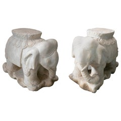 1970s Asian Pair of White Marble Elephants from India