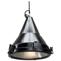 1970s Black Vintage Industrial Conical Ceiling Pendant by Daeyang