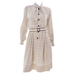 1970s Chanel Vintage Cream Black Tulip Print Silk Day Dress