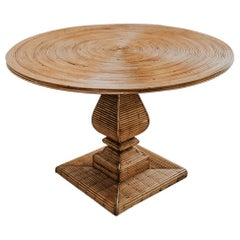 1970s Circular Rattan Table/Gueridon
