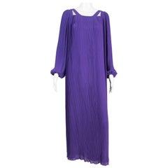 1970s Couture Philippe Venet Purple Pleated Evening Dress
