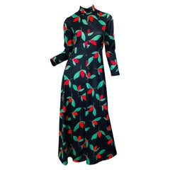 1970s Emilio Borghese Tulip Print Black + Green + Red Vintage 70s Maxi Dress
