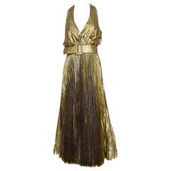 1970s Gold Lamé Sleeveless Pleated cocktail Dress