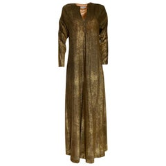 1970s Halston Deep Copper Gold Metallic Lame Lurex Caftan Dress