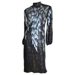 1970s Halston Sequin Silk Dress