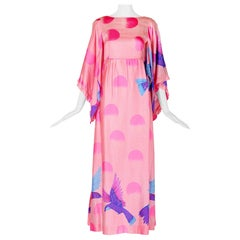 1970's Hanae Mori Rare Exotic Bird & Circle Motif Maxi Dress