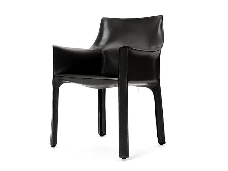 Mid-Century Modern 1970s Italian Cab Armchair by Mario Bellini for Cassina in Black Leather For Sale