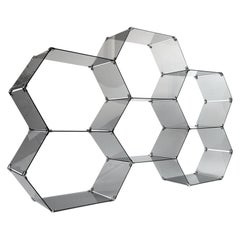1970s Italian Smoke Glass Hexagonal Display Étagère