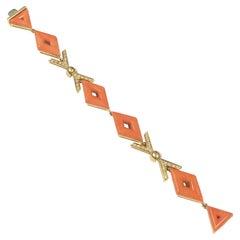 1970s Italian Yellow Gold Coral and Diamond Bracelet