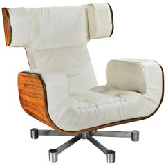 1970s Leather and Zebrano Lounge Armchair on Aluminium Base