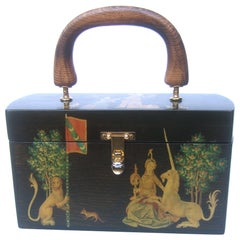1970s Medieval Style Wood Decoupage Box Purse