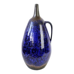 1970s Monumental Blue Glazed West German Pottery Floor Vase by Wendelin Stahl
