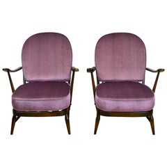 1970s Pair of Ercol Windsor Armchairs, New Cushions Purple Pink Pistoia Velvet