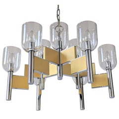1970s Mint Sciolari 9-Arm Glass Hurricane Chandelier, Italy