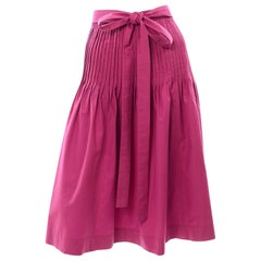 1970s Yves Saint Laurent Vintage Fuschia Pink Cotton Skirt With Sash Belt