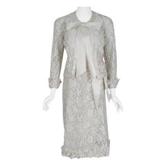 1971 Chanel Haute Couture Documented White Tulip Floral Lace Silk Dress & Jacket