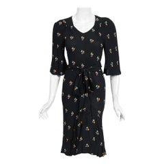 1971 Ossie Clark Black Floral Celia Birtwell Print Silk Belted Bias-Cut Dress