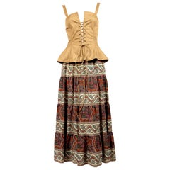 1977 YVES SAINT LAURENT lace up bustier with tiered floral paisley skirt