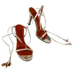 1978 Yves Saint Laurent Gold Metallic Heels with Ankle Tie Straps