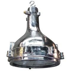 1980s Aluminum Industrial Engine Room Ceiling Pendant