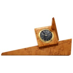 1980s Angular Burl Wood Desk Clock
