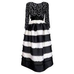 1980s Bill Blass Black & White Silk Organza Sequin & Ribbon Dress