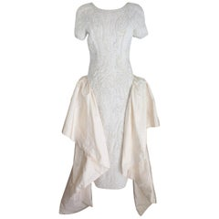 1980s Cailan'd Ivory Silk Pearl and Sequins Short Sleeves Italian Wedding Dress
