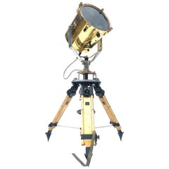 1980s Francis British Brass Search Light Russian Military Gyroscope Tripod Lamp