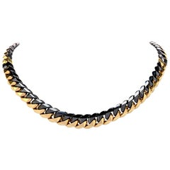 1980s Heavy 18 Karat Black and Yellow Gold Curb Link Chain Necklace