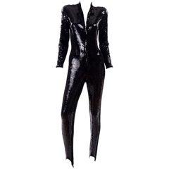 1980s Lillie Rubin Vintage Black Sequin Jumpsuit Catsuit With Stirrups