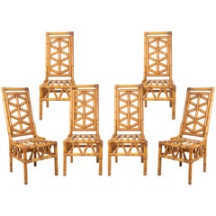 1980s Set of Six Spanish Bamboo Chairs