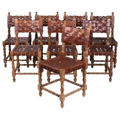 1980s Spanish Set of Eight Interlaced Leather Wooden Chairs