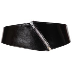 1980's VACHER for AZZEDINE ALAIA black patent leather belt with zipper detail