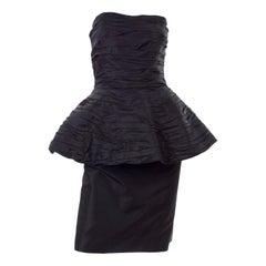 1980s Victor Costa Black Pleated Strapless Dress W Dramatic Peplum