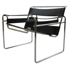 1980s Vintage Wassily B3 Black Leather and Chrome Chair Marcel Breuer 2 Avail B