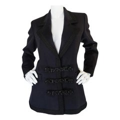 1980s Yves Saint Laurent Deep Grey Cashmere & Leather Braid Jacket