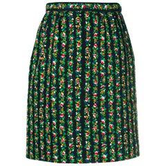 1980s Yves Saint Laurent Floral Straight Skirt