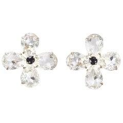 1980s Yves Saint Laurent Large Crystal Flower Earrings