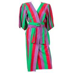 1980s Yves Saint Laurent Multico Cotton Dress