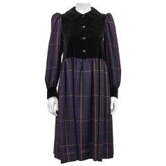 1980s Yves Saint Laurent Purple Tartan and  Black Velvet Peasant Dress