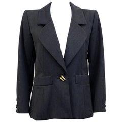 1980s Yves Saint Laurent Rive Gauche Dark Grey Blazer