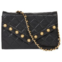 1987 Chanel Black Quilted Lambskin Vintage Studded Envelope Single Flap Bag