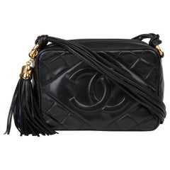 1989 Chanel Black Quilted Lambskin Vintage Timeless Fringe Camera Bag
