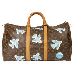 1989 Louis Vuitton Hand-painted  Paper Plane$ Monogram Coated Canvas Keepall 50