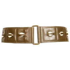 1990 AZZEDINE ALAIA olive green leather runway belt with cowrie shells
