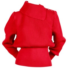 1990's AZZEDINE ALAIA red wool sweater with silver metal hooks