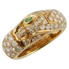 1990s Cartier Panthère Yellow Gold Diamond and Tsavorite Ring
