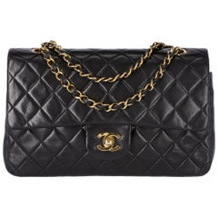 1990s Chanel 2.55 Black Leather Bag 25 cm With Chain